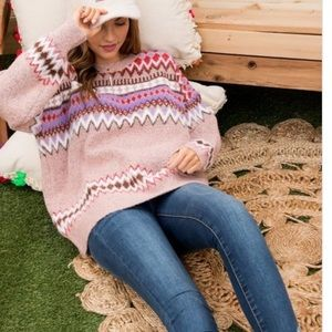 Sweaters - Main Strip• Printed Pink Loose Fit Sweater